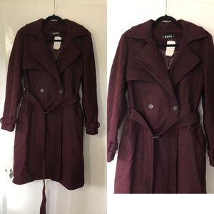 Dkny burgundy wine wool blend trench coat